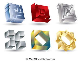 Shiny square icons, vector illustration