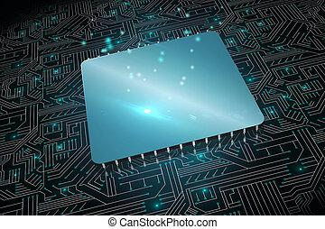 Shiny square on black circuit board