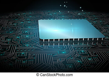 Shiny square on black circuit board