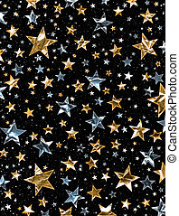 A star field of gold and silver stars with a clipping path.