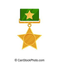 Shiny star shaped medal with green ribbon. Military golden...