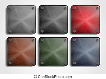 Shiny Steel Square Plate With Screws. App Icons Set. Vector...