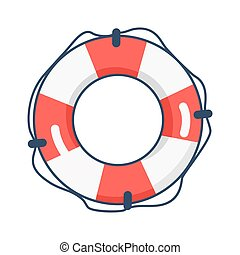 39d91f219d0 Round striped inflatable life buoy with rope around. Round striped ...