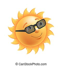 Shiny sun in black striped glasses isolated illustration