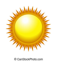 Shiny Sun in the Light Sky. Vector
