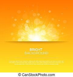 Shiny sun vector, sunbeams, sunrays, bokeh and space for...
