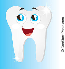 shiny teeth cartoon with eyes over blue background vector...