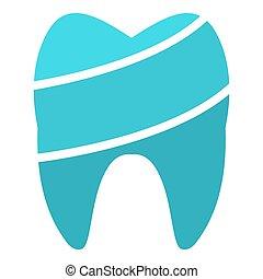 Shiny tooth logo icon, flat style.