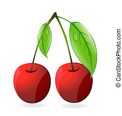 shiny two cherry red color isolated