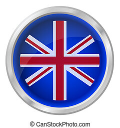 Shiny UK flag button isolated on white background