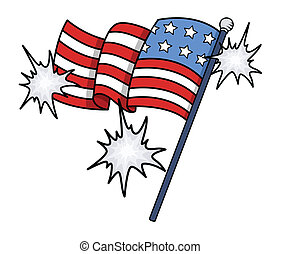 Shiny USA Flag Vector Clip-art