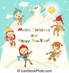 Shiny vector christmas background with funny snowman and children. Happy new year postcard design with boy and girl enjoying the holiday. Winter snow with bokeh effect. 2016 card