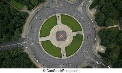 Shiny Victory Column in Berlin - Top view at Victory Column...