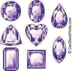 Shiny Violet Amethyst - Precious violet gemstones, purple...