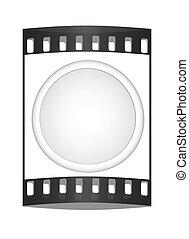 Shiny white button. The film strip