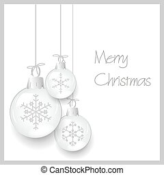 shiny white christmas decoration baubles with snowflakes hanging eps10