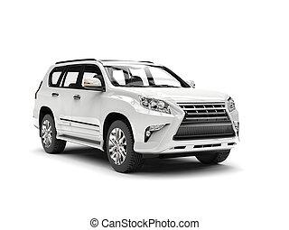 Shiny white modern SUV - studio shot