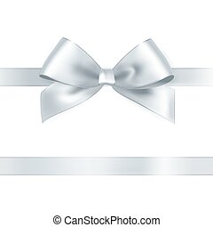 Shiny white satin ribbon on white background. Vector