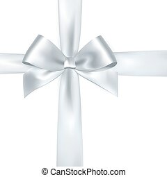 Shiny white satin ribbon on white background. Vector silver...