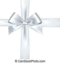 Shiny white satin ribbon on white background. Vector silver ...