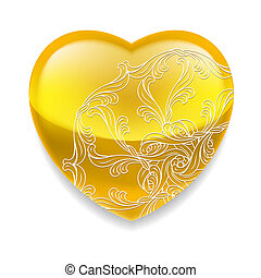 Shiny yellow heart with decor - Glossy yellow heart with...