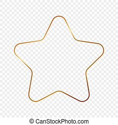 Gold glowing rounded star shape frame isolated on transparent background. Shiny frame with glowing effects. Vector illustration.
