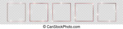Set of five rose gold shiny square frames with glowing effects and shadows on transparent background. Vector illustration