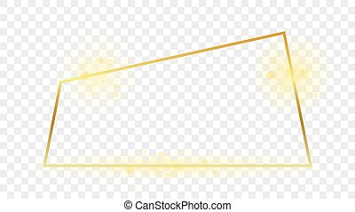 Gold glowing trapezoid shape frame isolated on transparent background. Shiny frame with glowing effects. Vector illustration.