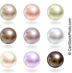 shinyl, pearls.