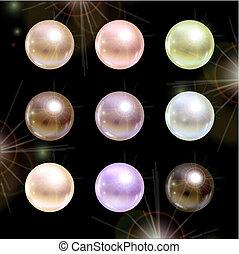 shinyl, perle, nero, fondo.