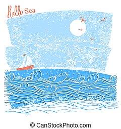 ship., 航海, テキスト, 青, イラスト, 海, 風景, ベクトル, seascaper