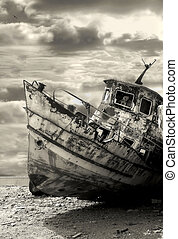 ship., 錆ついた, 古い, israel., yafo