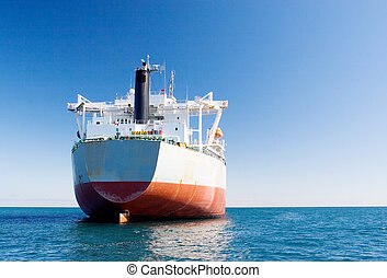 ship #3 - White and red oil tanker - copy space
