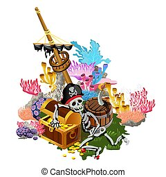 Ship after shipwreck is overgrown with colorful polyps and corals on the seabed. The skeleton of pirate hugs the chest of gold coins. Vector illustration.