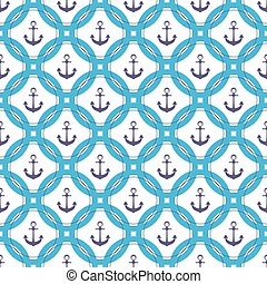 Ship anchor in the circle. Marine seamless pattern.
