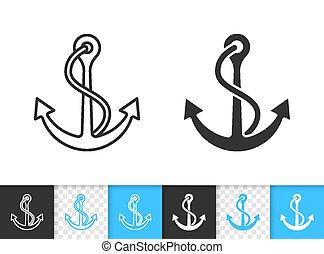 Ship Anchor nautical simple black line vector icon