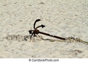 Ship anchors on the beach