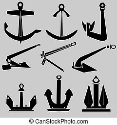 Ship anchors vector silhouette