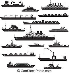 Ship and boat icon set - Set of black and white silhouette...