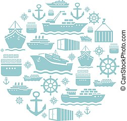 Ship and boat icons background. transportation. shipping. blue  white.