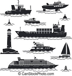 Ship and boat icons set. Liner and container, freighter and...