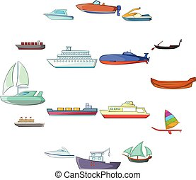 Ship and boat icons set, cartoon style