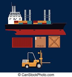 ship and forklift truck container boxes delivery