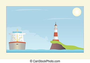 Ship and lighthouse in the sea.