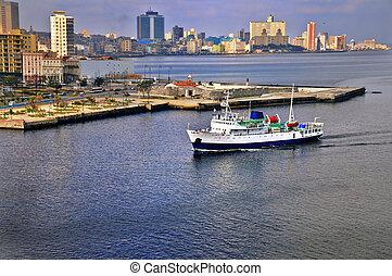 Ship arriving to havana bay - A view of havana city skyline...
