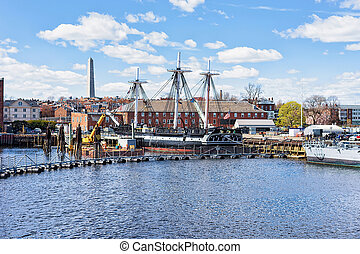 Ship at Charlestown peninsula in Boston MA