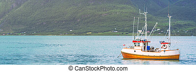 Ship at fiord in Norway, Europe