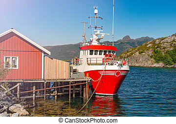 Ship at pier in Norway, Europe