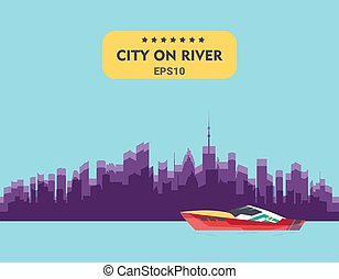 Ship at river transport, shipping boats in vector. City buildings