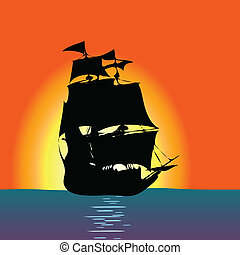 ship at sea art color vector illustration
